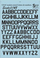 Декали Print Scale USAF modern stencil letters and numbers».Black.The complete set 1,5 leaf. Wet decal